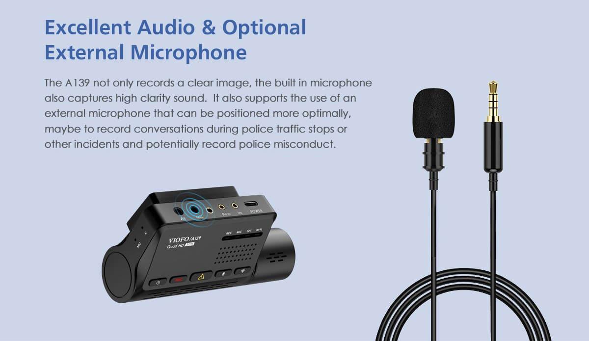 Подключение внешнего микрофона к видеорегистратору VIOFO A139 3CH